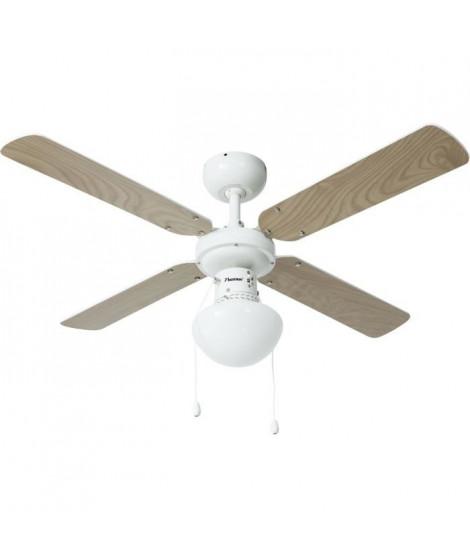 BESTRON Ventilateur De Plafond - 50W - 102cm - Blanc - 4 Pales réversibles en blanc ou en érable - Equipé d'une douille E27