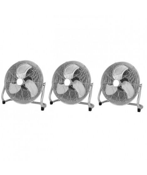 OCEANIC Lot de 3 ventilateurs industriels de sol - Brasseur d'air 70 W - 3 vitesses - Diametre 35 cm