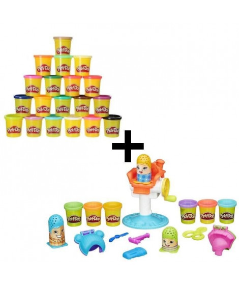 PLAY-DOH - Coiffeur + Super Pack Coloré 20 Pots