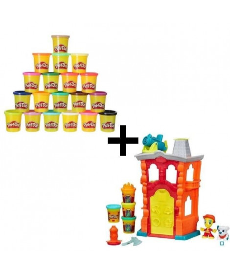 PLAY-DOH TOWN - Maison Pompiers + Super Pack Coloré 20 Pots