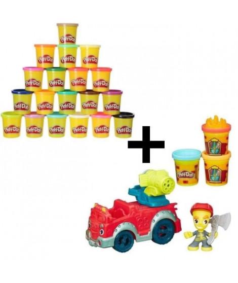 PLAY-DOH TOWN - Camion De Pompier + Super Pack Coloré 20 Pots