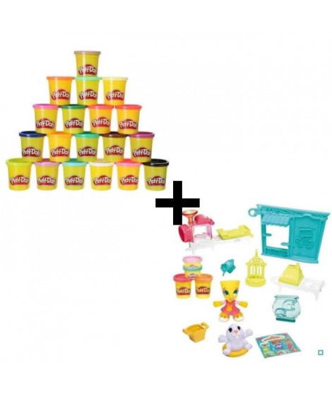 PLAY-DOH TOWN - Animalerie + Super Pack Coloré 20 Pots
