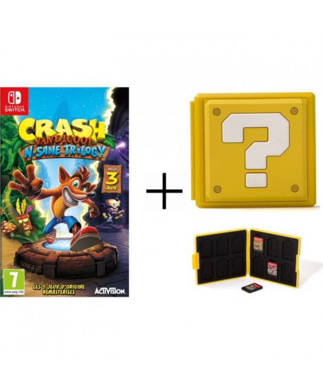 CBandicoot N.Sane Trilogy + Boîtier pour jeux Switch - Question Block Jaune