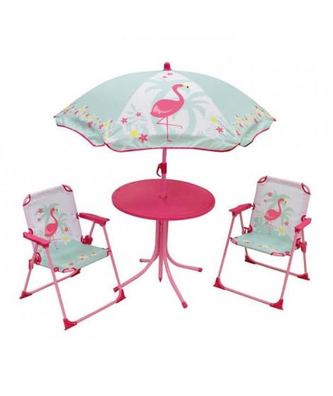 FUN HOUSE 713088 FLAMANT ROSE Salon de jardin avec une table, 2 chaises pliables et un parasol pour enfant