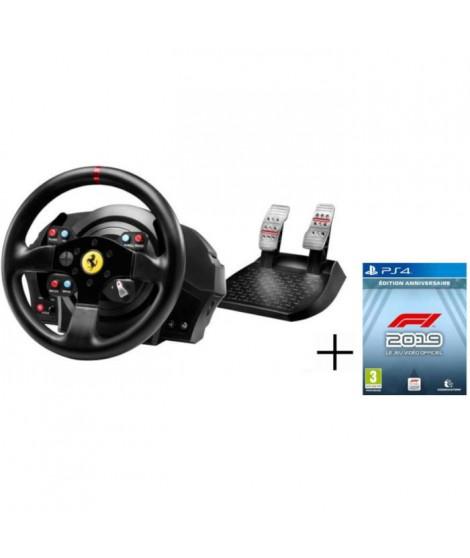 THRUSTMASTER Volant de Course & Pédalier T300 Ferrari GTE PS4 - PS3 - PC + CODEMASTERS F1 2019 Édition Anniversaire Jeu PS4
