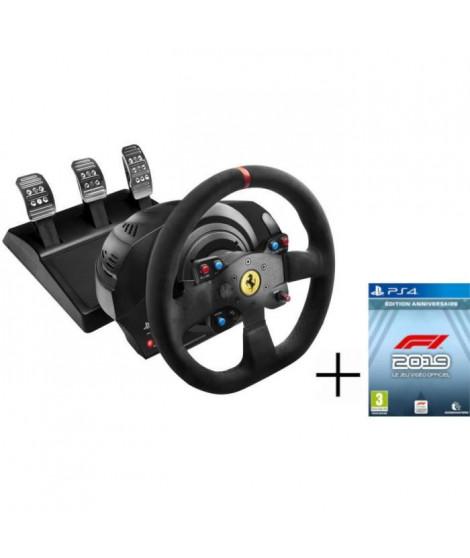 THRUSTMASTER Volant T300 FERRARI Alcantara Edition - PS3 / PS4 / PC + CODEMASTERS F1 2019 Édition Anniversaire Jeu PS4