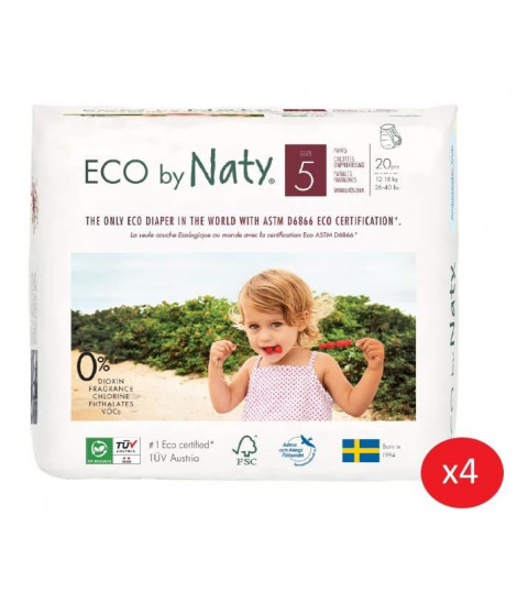 NATY - Lot de 4 paquets de Culottes d'apprentissage Taille 5 Junior 12-18 kg 20 pcs