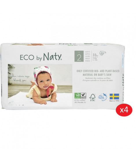 NATY - Lot de 4 paquets de couches Taille 2 Mini 3-6 kg 33 pcs