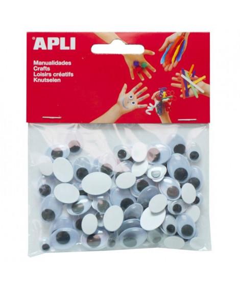 APLI Sachet de 100 yeux mobiles - Adhésifs ovales tailles assorties
