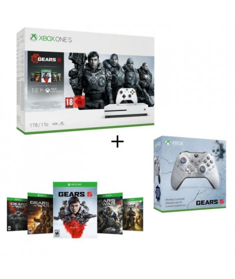 Xbox One S 1 To + 5 jeux Gears of War + 1 mois d'essai au Xbox Live Gold et Game Pass + Manette Xbox Spéciale Gears 5