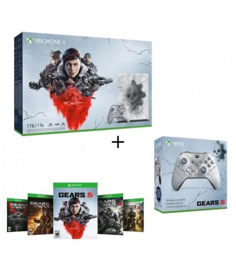 Xbox One X 1 To Edition Limitée Gears of War + 1 mois d'essai au Xbox Live Gold et Game Pass + Manette Xbox Spéciale Gears 5