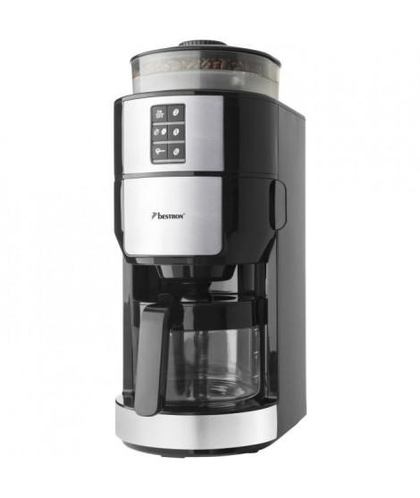 BESTRON ACM1100G Cafetiere filtre - 6 Tasses - broyeur intégré - 820W - Noir/Inox