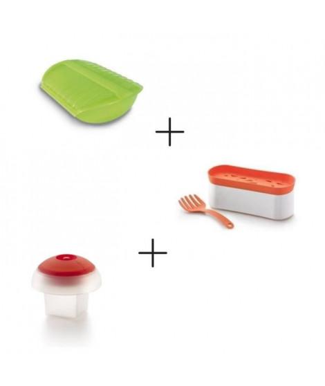Pack Rapidité au micro-ondes: Coffret papillote + Pasta cooker + Cuit oeuf