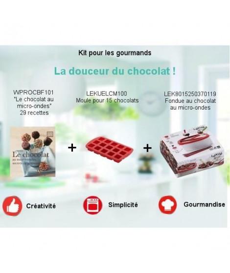"""Pack Kit pour les gourmands spécial micro-ondes - Fondue au chocolat + Livre """"Le chocolat au micro-ondes"""" + Moule a chocolats"""