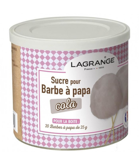 LAGRANGE 380009 Boîte de sucre a barbe a papa 500 g - Cola