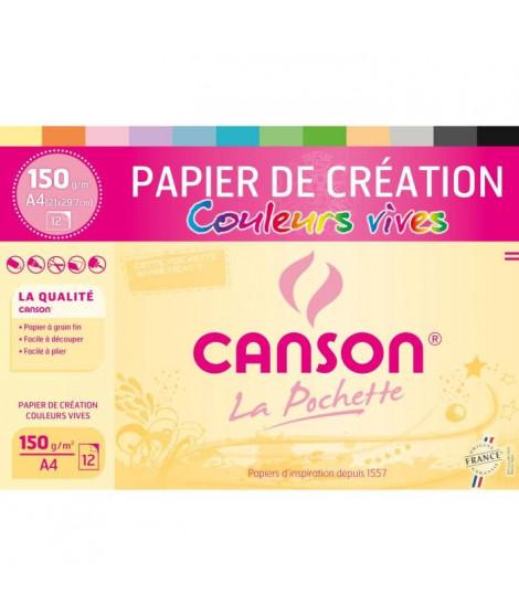 CANSON Pochette papier de création 12 feuilles A4 - 150 g - Couleurs vives