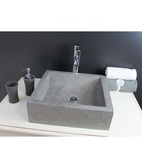 Vasque en terrazzo Kiara 40x40cm gris