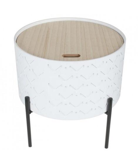 Table d'appoint coffre bois - Blanc - L 35 x P 35 x H 35 cm