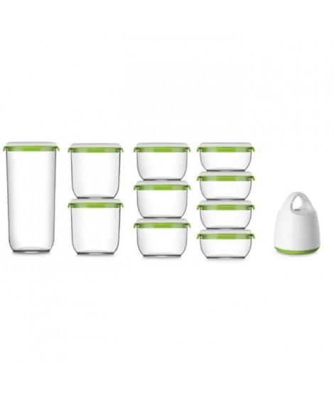 FOSA Kit de mise sous vide alimentaire en récipients - 600-850-1350-2850 ml - Blanc et vert
