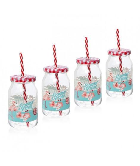 CERVE lot de 4 drinking jars avec paille 45 cl gamme Flamant rose