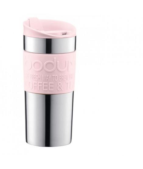 BODUM TRAVEL MUG Mug de voyage isotherme - Inox double paroi - Couvercle a clapet - 0,35 L - Rose pastel