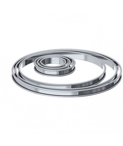 DE BUYER Cercle a tarte aux bords roulés perforés - Inox - Ø 8 x H 2 cm - Tous feux dont induction