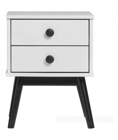 CLEMENCE Chevet 2 tiroirs - Décor blanc et pieds noir longeur - L 40 x P 40 x H 52 cm