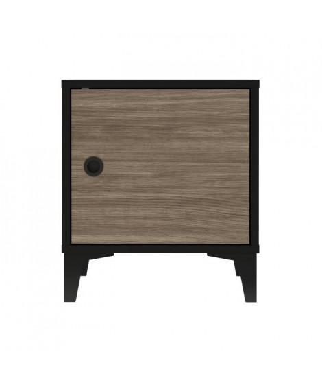 FINLANDEK Chevet JONES - Industriel - Noir mat et décor chene - L 40 cm