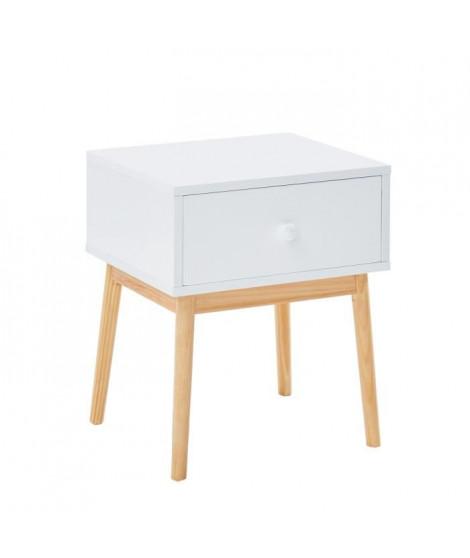 JEANNE Table de chevet scandinave blanc laqué mat + pieds en bois pin massif - L 40 cm