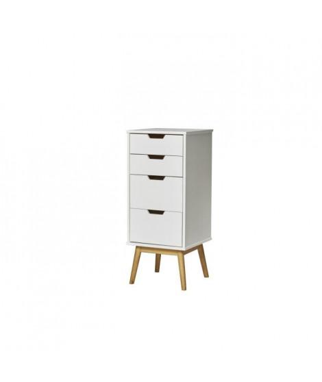 HAVANA Chiffonier 4 tiroirs- Décor chene et Blanc - L 40 x P 40 x H 94 cm