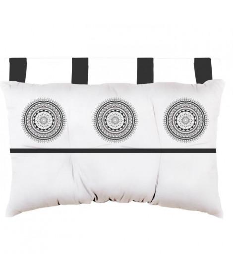 SOLEIL D'OCRE Tete de lit Mandala en coton - 45x70 cm - Gris