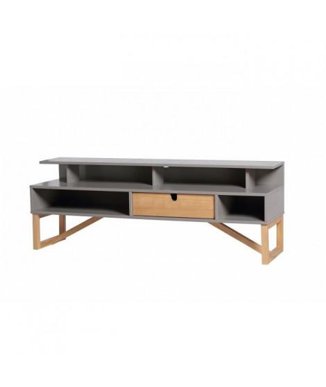 ALIA Meuble TV 1 tiroir - Décor gris ciré - L 139 x P 37 x H 50 cm