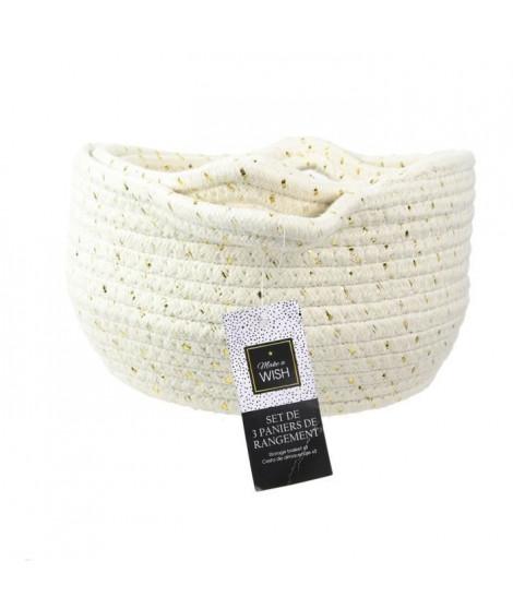 TOTALLY ADDICT Panier rangement coton - Blanc et fibre doré - X3 - Blanc