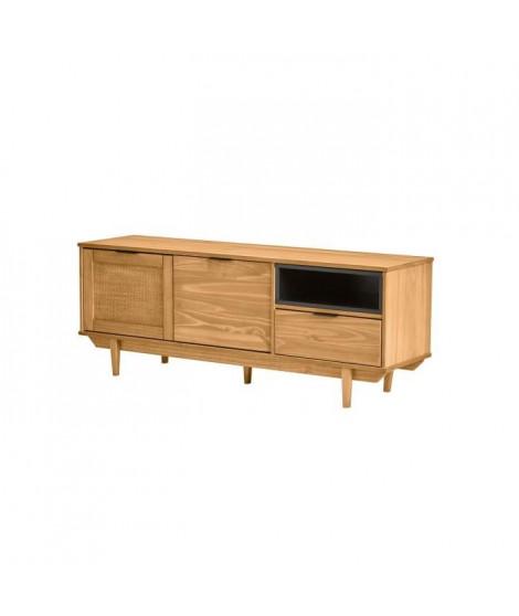 PARIS Meuble TV 2 portes 1 tiroirs - Décor ciré - L 140,8 x P 37 x H 52,5 cm