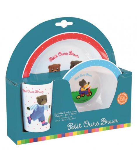 Fun House Petit Ours Brun ensemble repas comprenant 1 assiette, 1 verre et 1 bol pour enfant
