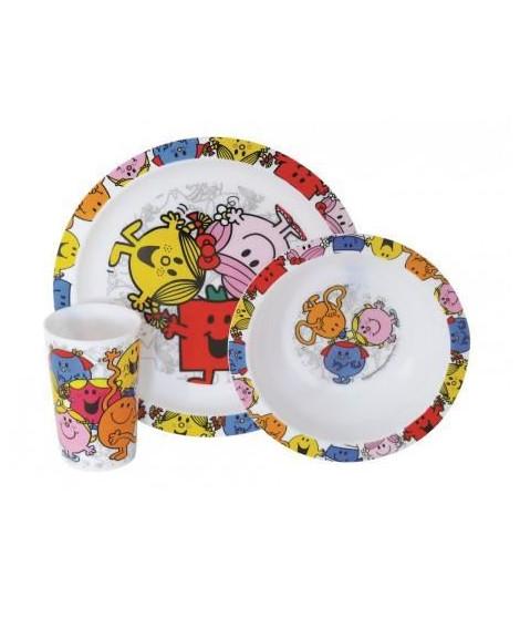 Fun House monsieur madame ensemble repas comprenant 1 assiette, 1 verre et 1 bol pour enfant
