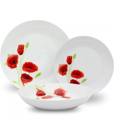 Service de Table 18 pieces en porcelaine Coquelicot rouge et blanc