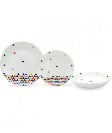 Service de Table 18 pieces en porcelaine Triangles