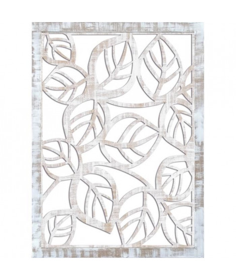 Miroir mural Feuilles - 50x70 cm - Moulure 30 mm - Blanc vieilli