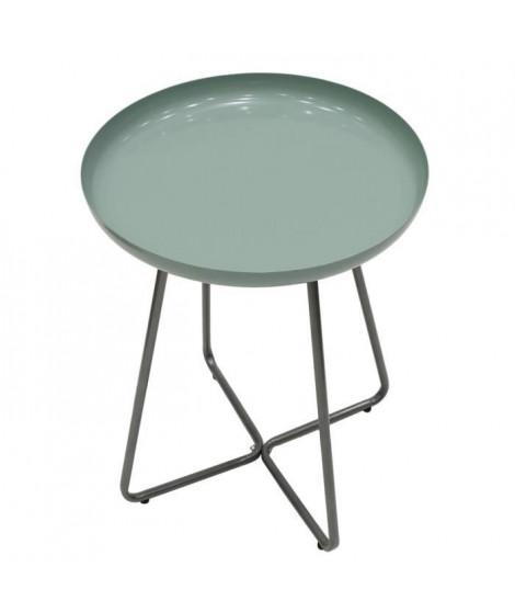 Table d'appoint plateau rond glossy - Vert d'eau - L 40 x P 40 x H 48,5 cm