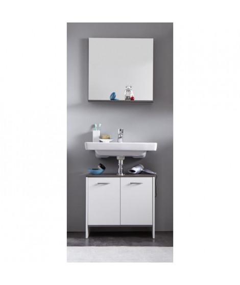 SAN DIEGO Ensemble meubles sous-vasque + miroir de salle de bain L 60 cm - Blanc mat et gris