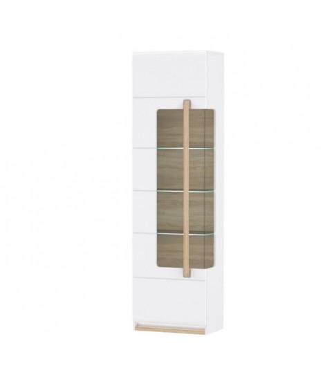 HELSINKI Vitrine 1 porte vitrée - Décor chene gris - 60,2 x 209,3 x 34,2 cm