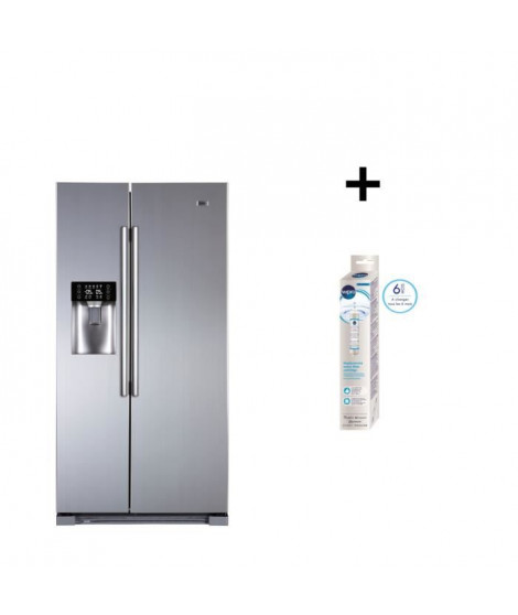 Pack Haier HRF-629IF6 - Réfrigérateur américain - Total No Frost - A+ - 550L - + WPRO USC100/1 Filtre a eau universel