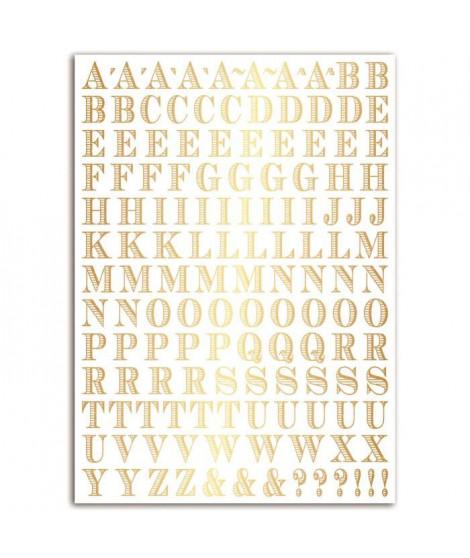 TOGA Planche de transferts alphabet Stockholm en lettres dorées
