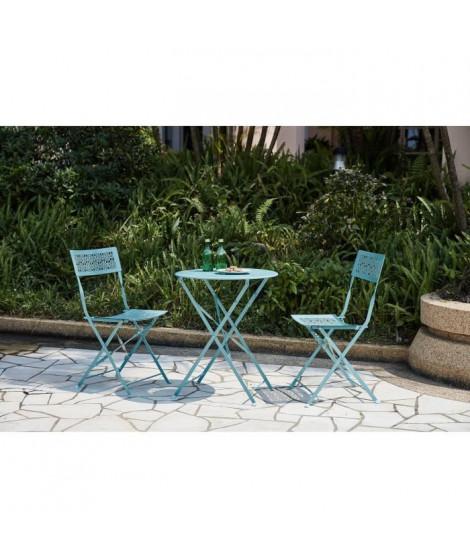 Ensemble repas de jardin - Set bistrot table avec 2 chaises - Ø 60 x 70 cm - Bleu