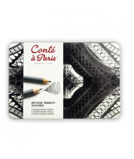 CONTE A PARIS Assortiment boîte métal dessin 12 crayons graphite
