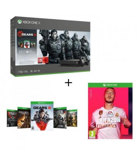 Xbox One X 1 To + 5 Jeux Gears of War + 1 mois d'essai au Xbox Live Gold + 1 mois d'essai au Xbox Game Pass + FIFA 20 Jeu Xbo…