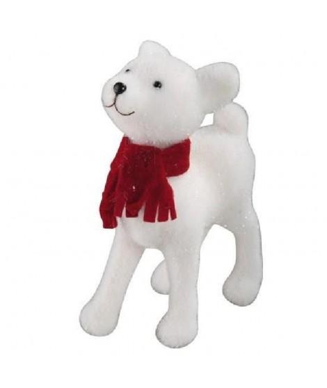 Faon couleur blanche avec écharpe rouge h35cm