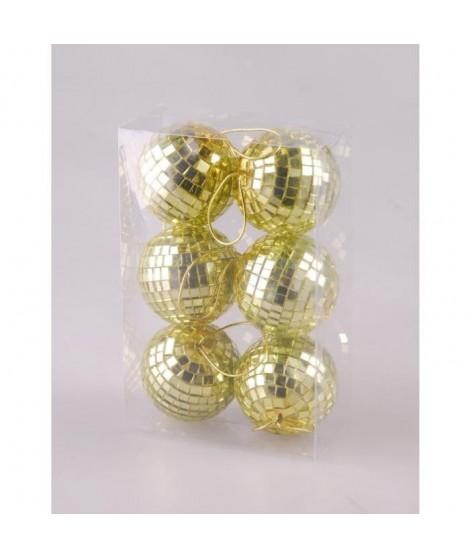 Set de 6 boules Miroir 6 cm de coloris or