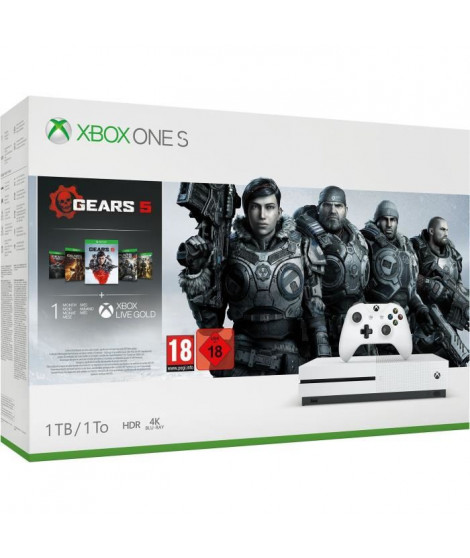 Xbox One S 1 To + 5 jeux Gears of War + 1 mois d'essai au Xbox Live Gold + 1 mois d'essai au Xbox Game Pass